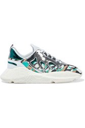 Roberto Cavalli Woman V1per Cracked Mirrored Leather And Printed Mesh Sneakers White