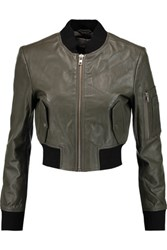 W118 By Walter Baker Nicole Cropped Textured Leather Bomber Jacket Army Green