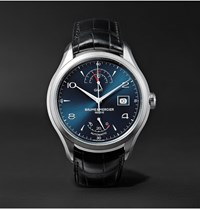 Baume And Mercier Clifton Automatic 43Mm Stainless Steel Alligator Watch Blue