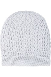Madeleine Thompson Maddy Cable Knit Cashmere Beanie Blue
