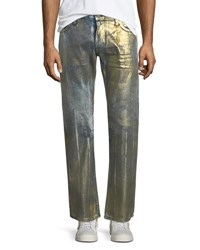 Robin's Jeans Straight Leg Distressed Gold