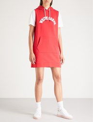 Chocoolate Slogan Print Hooded Cotton Blend Dress Red