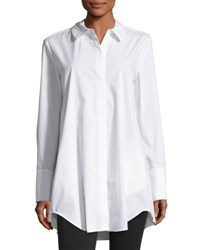 Joan Vass Hidden Placket Long Sleeve Shirt White