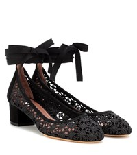 Tabitha Simmons Minnie Daisy Crochet Pumps Black
