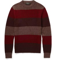 Berluti Striped Cashmere Silk And Wool Blend Sweater Red