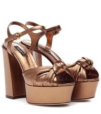 Dolce And Gabbana Metallic Leather Plateau Pumps Brown