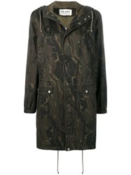 Saint Laurent Camouflage Parka Green