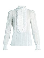 Bella Freud Brian Jones Cotton And Silk Blend Blouse Light Blue