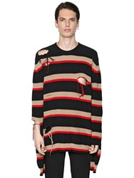 Msgm Distressed Striped Cotton Sweater