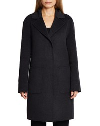 Dawn Levy Cece Reversible Wool Coat W Removable Fur Black Charcoal
