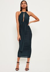 Missguided Green Slinky Keyhole Ruched Midi Dress