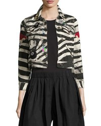Marc Jacobs Embellished Zebra Print Denim Jacket White