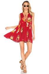 Free People Lovely Day Printed Tunic Red