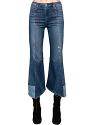 J Brand Kozaburo Asymmetrical Cotton Denim Jeans Blue