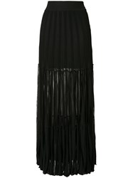 Chloe Semi Sheer Pleated Maxi Skirt Women Cotton Spandex Elastane Viscose L Black