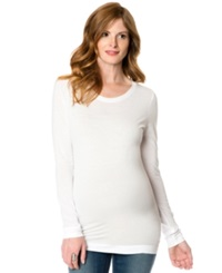 A Pea In The Pod Maternity Long Sleeve Ruched Tee White