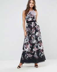 Little Mistress Autumn Floral Print Maxi Dress Black