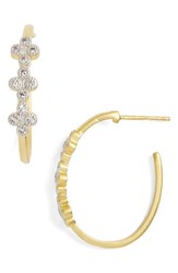 Freida Rothman Women's Visionary Fusion Pave Clover Hoop Earrings