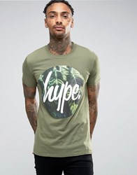 Hype T Shirt With Leaf Circle Logo Green