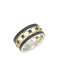 Jude Frances Black Rhodium 18K Yellow Gold And Sterling Silver Band Ring Black Gold