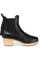Loeffler Randall Dillon Tassel Trimmed Textured Leather Ankle Boots Black