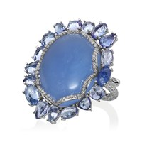 Nina Runsdorf 18K White Gold Calcedony 27.30 Cts Blue Sapphire 8.10 Cts Diamonds Pave 0.68 Cts Frame Ring
