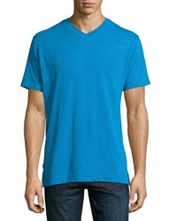 Robert Graham Navajo Short Sleeve V Neck Tee Royal Blue