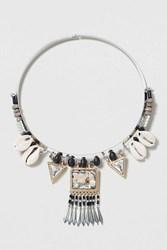 Topshop Shell And Abalone Torquise Necklace Multi