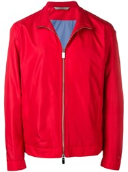 Canali High Standing Collar Jacket Red