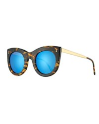 Illesteva Boca Ii Mirrored Cat Eye Sunglasses Forest Blue Green Blue