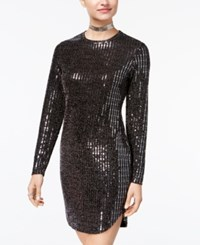 B. Darlin B Juniors' Disco Dot Bodycon Dress Black Gunmetal