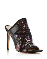 Via Spiga Tarot Patchwork High Heel Slide Sandals Black Mysterioso