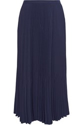 Theory Laire Pleated Crepe Midi Skirt Storm Blue