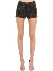 Philipp Plein Embellished Cotton Blend Denim Shorts Black