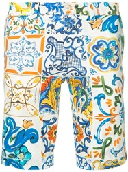 Dolce And Gabbana Sicilian Print Fitted Shorts White