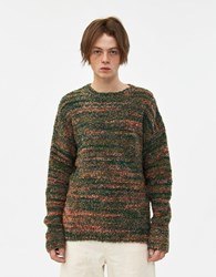 Our Legacy Popover Roundneck Sweater In Red Green Smudge Print Red Green Smudge Print