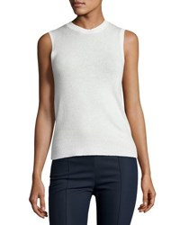 Theory Jolana Sleeveless Cashmere Top Ivory