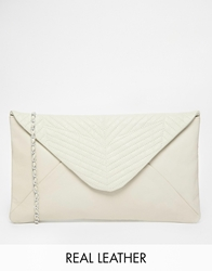 Maison Scotch Leather Clutch With Detachable Chain Strap White