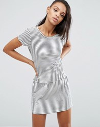 Pepe Jeans Xana Jersey Stripe Dropped Hem Dress Ivory White