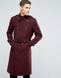 Asos Wool Mix Belted Double Breasted Overcoat In Burgundy Burgundy Red