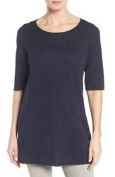 Eileen Fisher Women's Organic Linen And Cotton Slub Tee Midnight