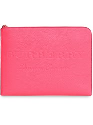 Burberry Embossed Leather Document Case Pink And Purple