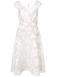 Lela Rose Floral Embroidered Flared Dress White