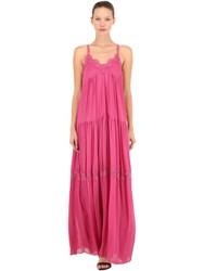 Pink Memories Long Pleated Crepe And Lace Dress Fuchsia