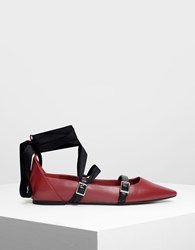 Charles And Keith Ribbon Tie Ballerinas Red