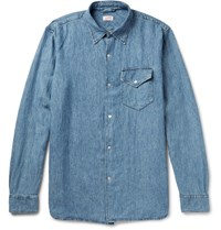 Arpenteur Washed Linen And Cotton Blend Chambray Shirt Blue