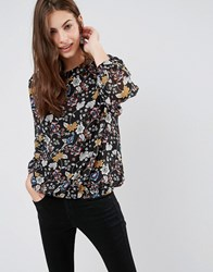 Brave Soul Floral Blouse Black Red Multi