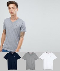Hollister 3 Pack V Neck T Shirt Seagull Logo Slim Fit In White Grey Navy Multi