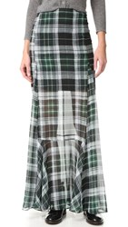 Mcq By Alexander Mcqueen Flared Fluid Maxi Skirt Green Tartan