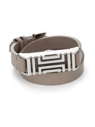 Tory Burch For Fitbit Leather Double Wrap Bracelet Silvertone French Gray